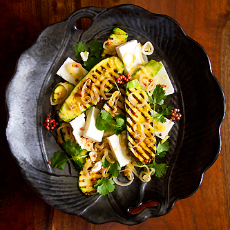 Grilled Zucchini with Pink Peppercorns and Feta