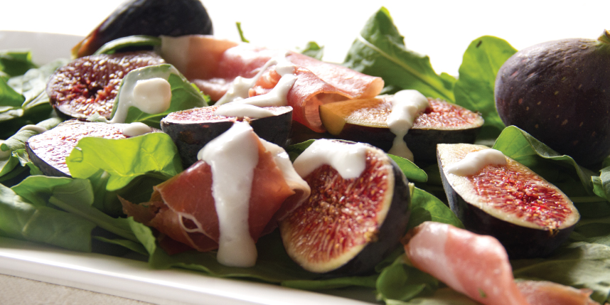 Figs, Speck & Arugula salad with Goat Cheese Dressing