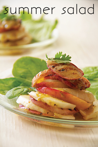 Grilled Nectarine and Mozzarella Stacked Salad