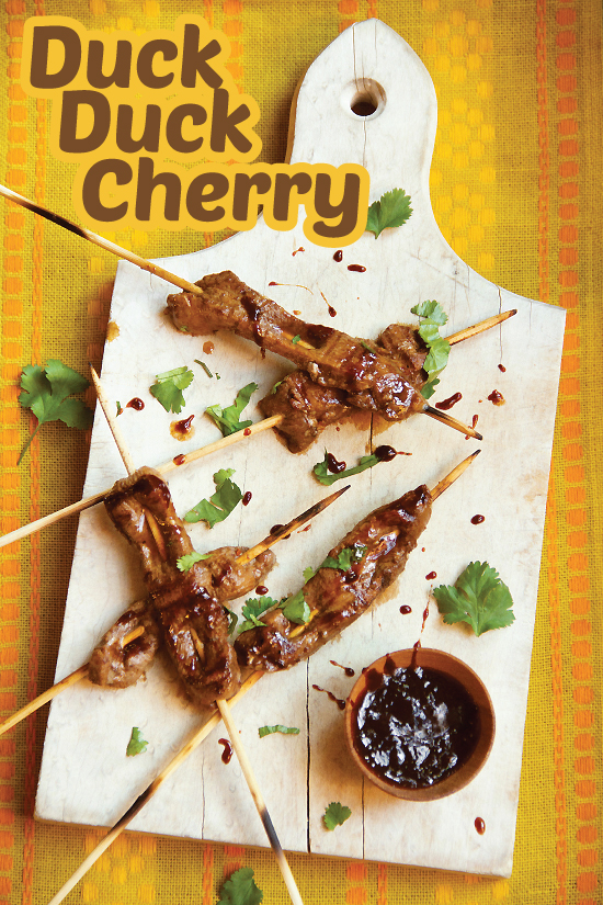 Cherry Chipotle Duck Skewers