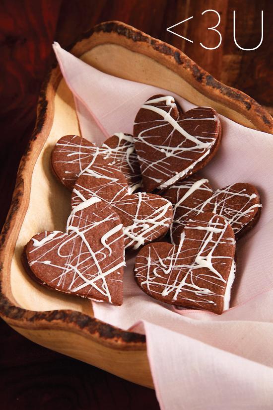 Heart-Shaped Chocolate Sandwich Cookies