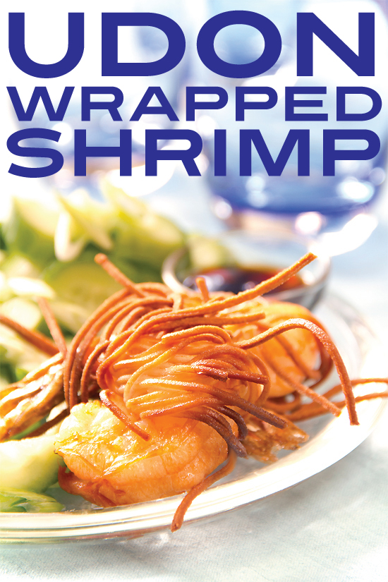 fried udon-wrapped shrimp