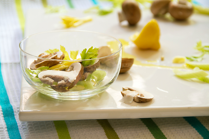 Celery Heart Salad with Mushrooms
