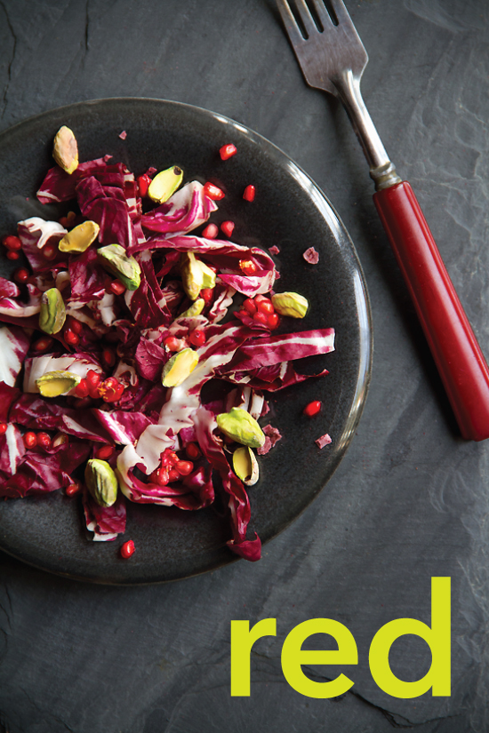 Red Salad with Radicchio and Pomegranate Chile Vinaigrette