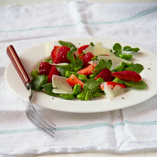 Fava Strawberry Salad