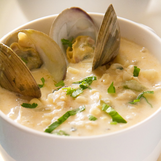 Corn Chowder with Crab and Clams