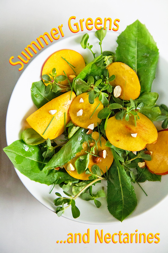 summer greens and nectarines salad
