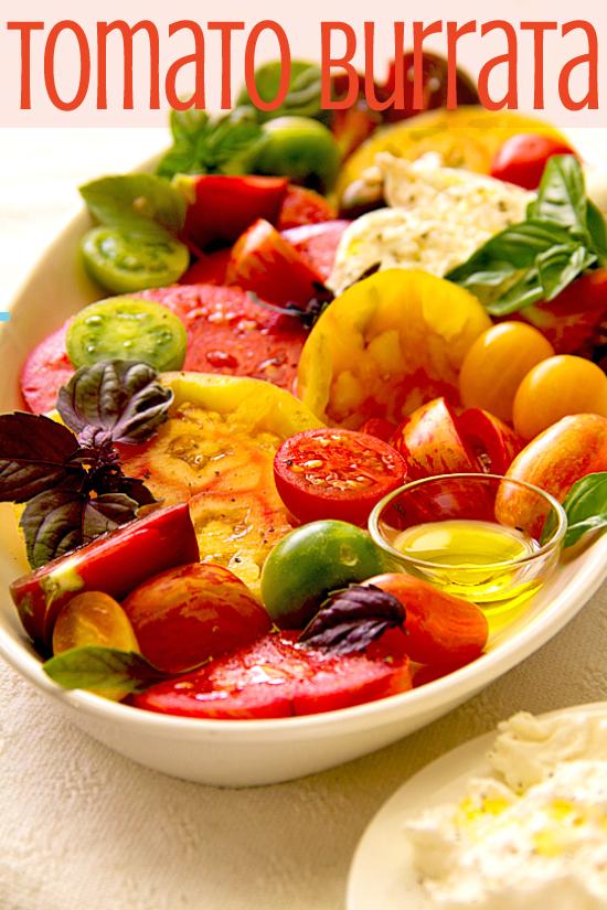 Tomato, Basil, Burrata Salad