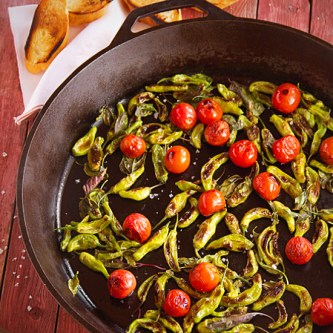 Charred Shishito or Padrón Peppers with Cherry Tomatos