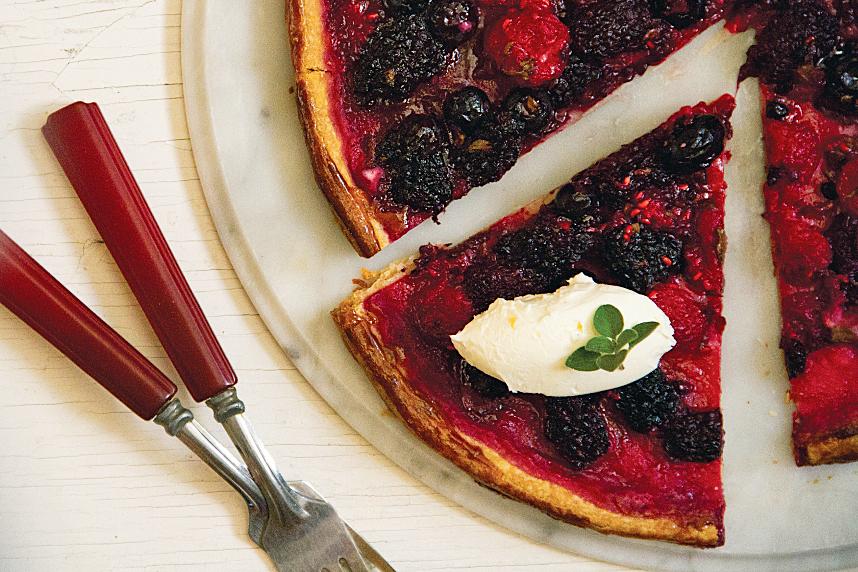 Bumbleberry Pizza with Oregano and Mascarpone