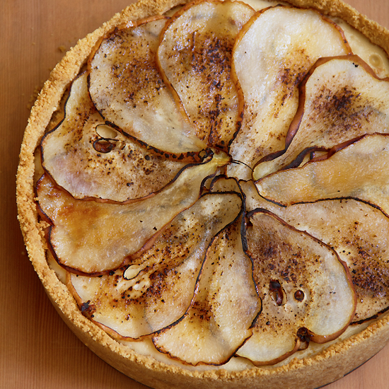 Maple Cheesecake with Charred Pear Slices