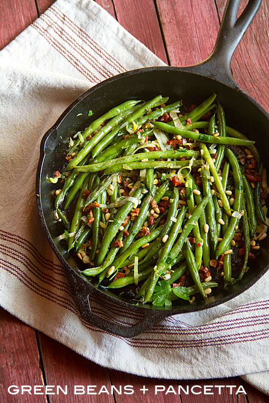 Sautéed Green Beans with Pancetta and Pine Nuts