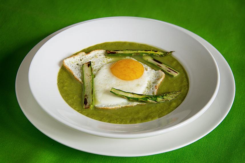 Springtime Asparagus Soup with Fried Eggs