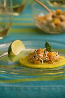 "Crab Salad Taco with Pickled Jicama ""Tortillas"""