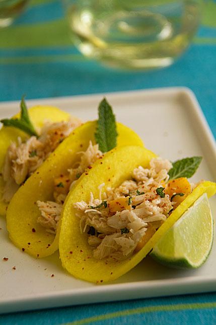 """Crab Tacos with Jicama """"Tortillas"""""""