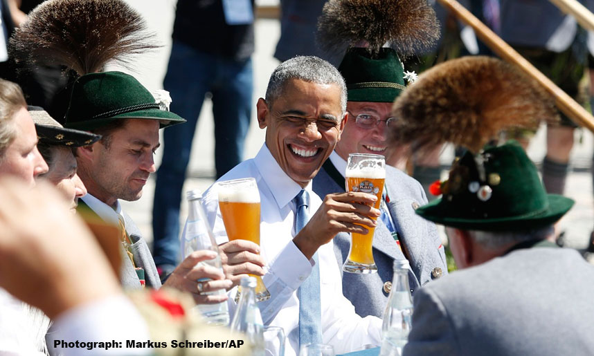 President Obama drinking beer