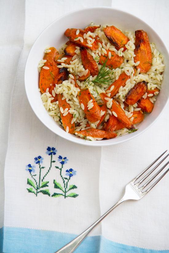 Orzo-Roast Carrot Salad with Roast Garlic & Dill