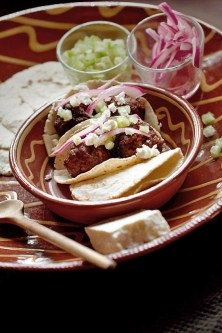 Lamb Chorizo Albondigas Tacos with Fresh Tomatillo