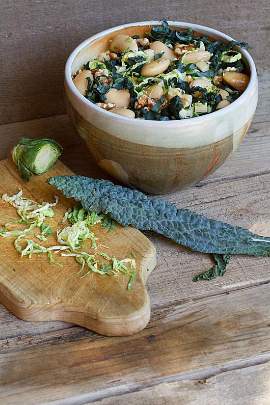 Black Kale, White Bean & Brussels Sprouts Salad with Lemon-Saffron Dressing