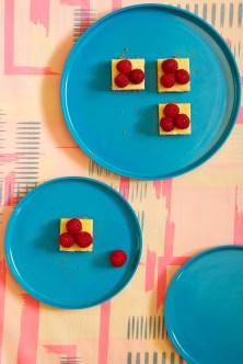 White Chocolate Cheesecake Squares with Fresh Raspberries