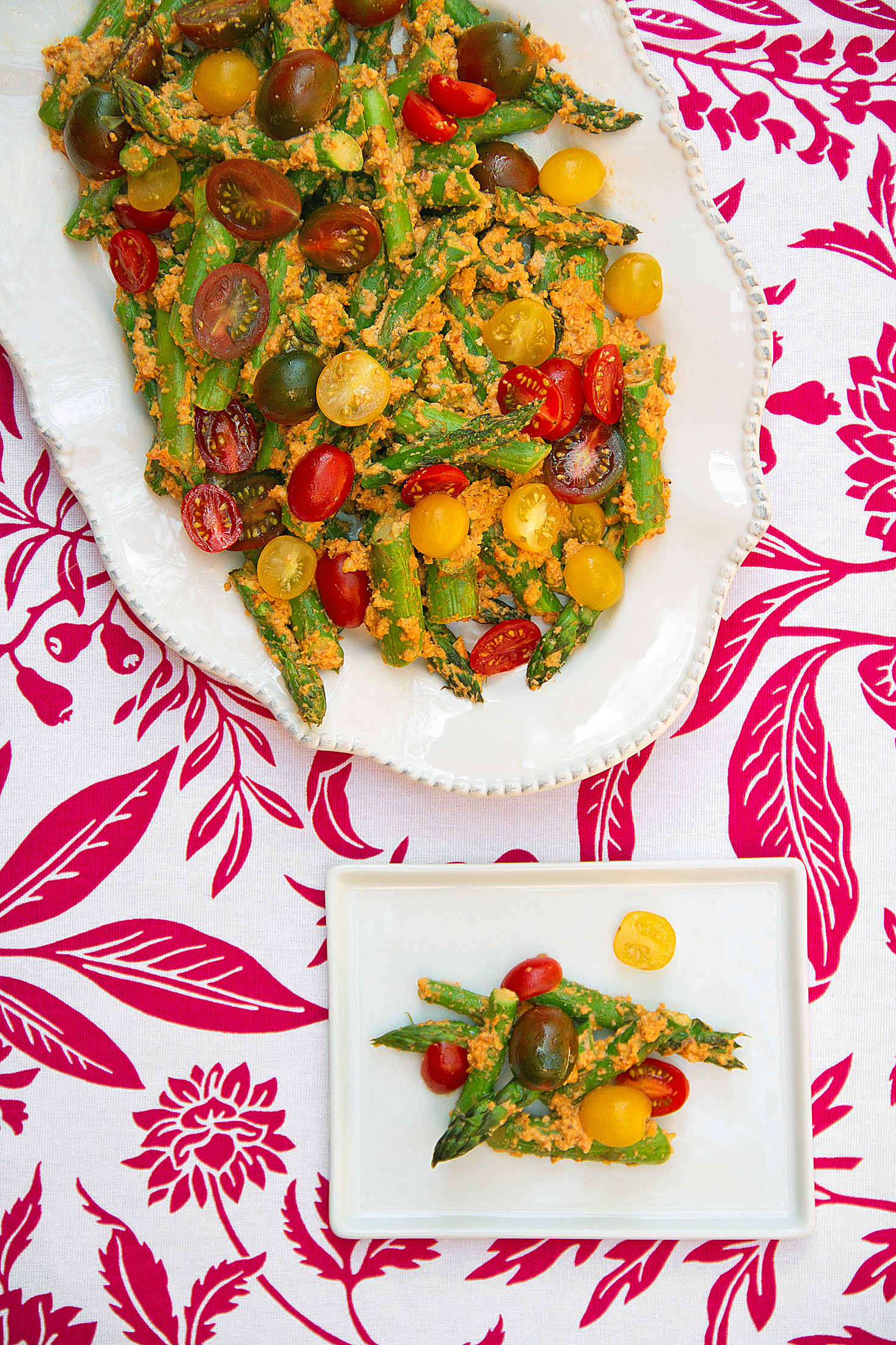 Roasted Asparagus with Tomato-Almond Pesto and Cherry Tomatoes