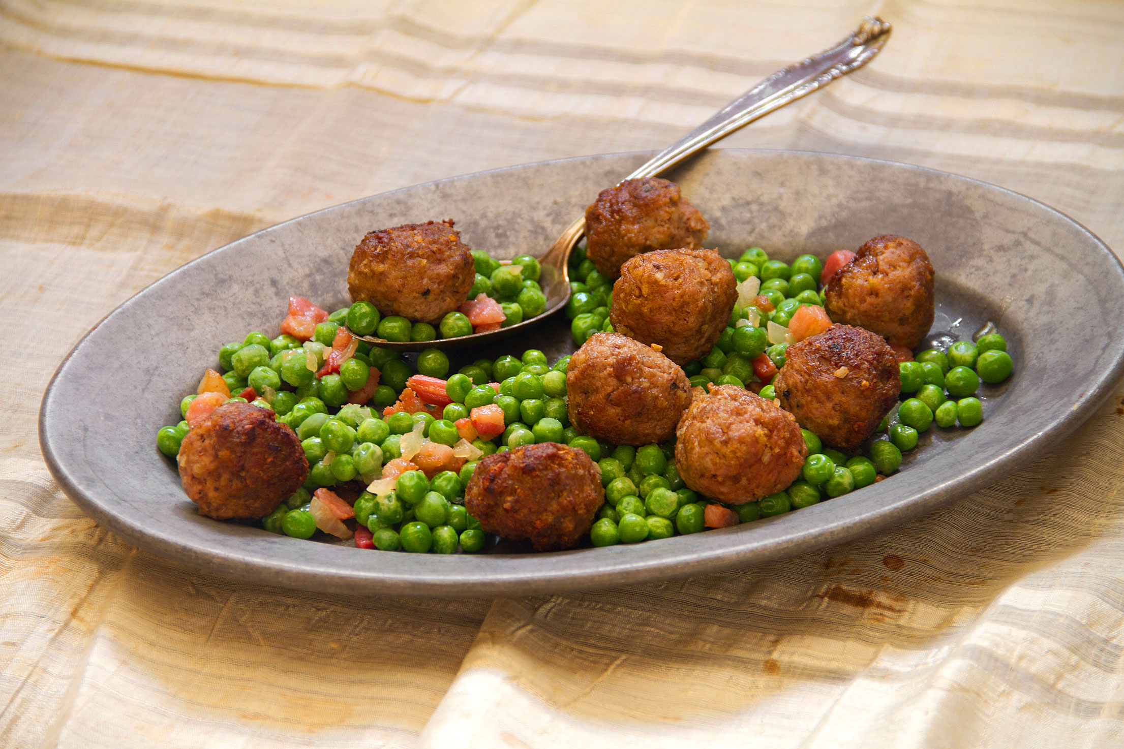 Spiced Lamb Meatballs and Hot Buttered Peas