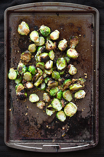 Broiled Brussels Sprouts with Pickled Mustard Seeds