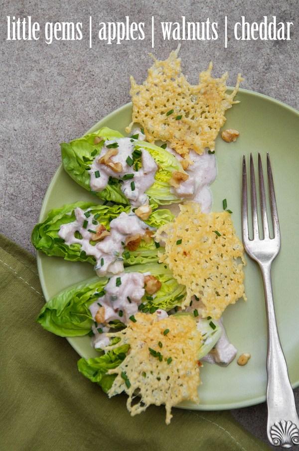 Little Gem Salad with Creamy Walnut-Apple Dressing and White Cheddar Crisps