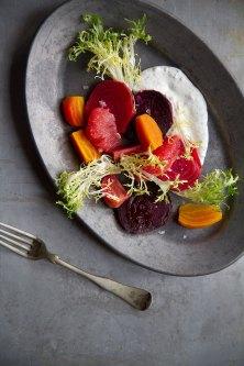 Roasted Beet Salad with Grapefruit, Frisée and Minted Crème Fraîche