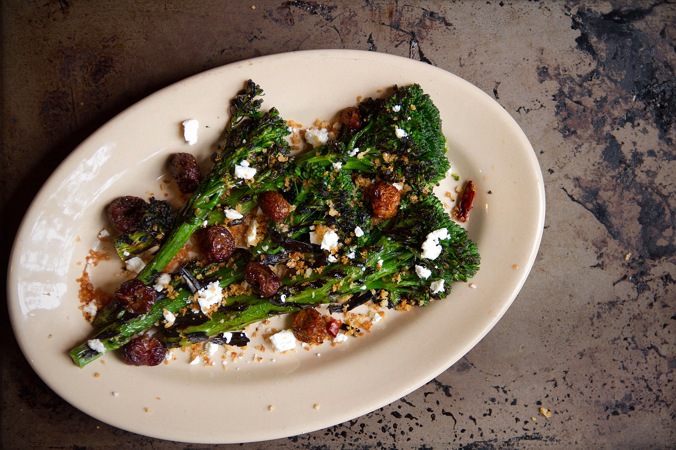 Grilled Broccolini with Dried Cherries and Chile