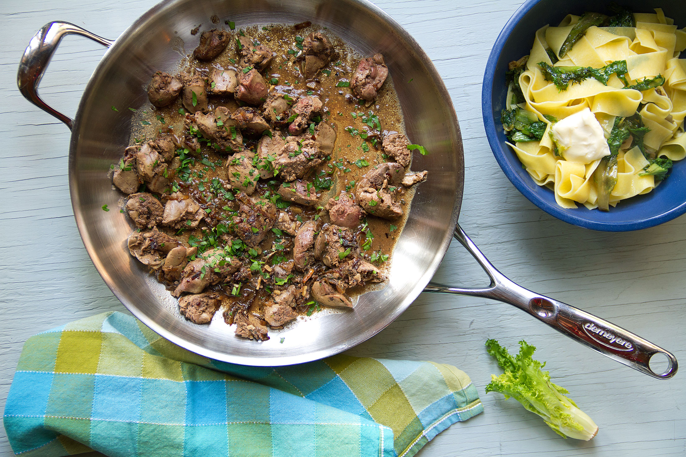 Pappardelle with Sautéed Chicken Livers and Escarole