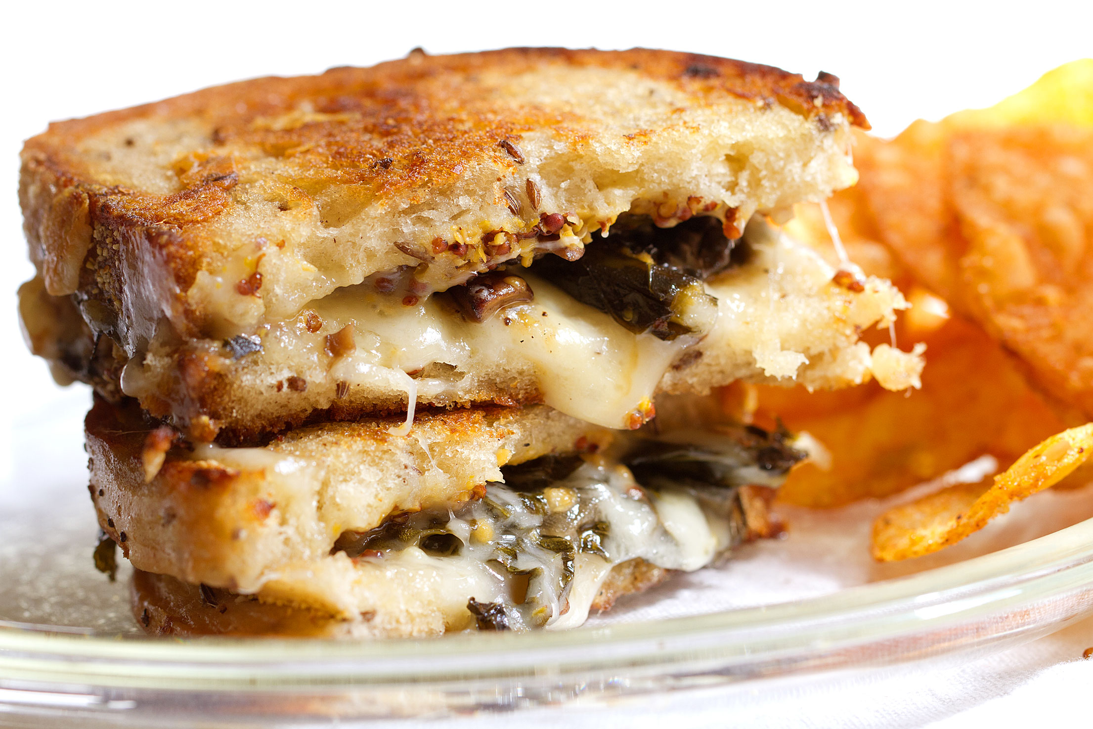 Easy Grilled Cheese Sandwich with Mushrooms and Kale