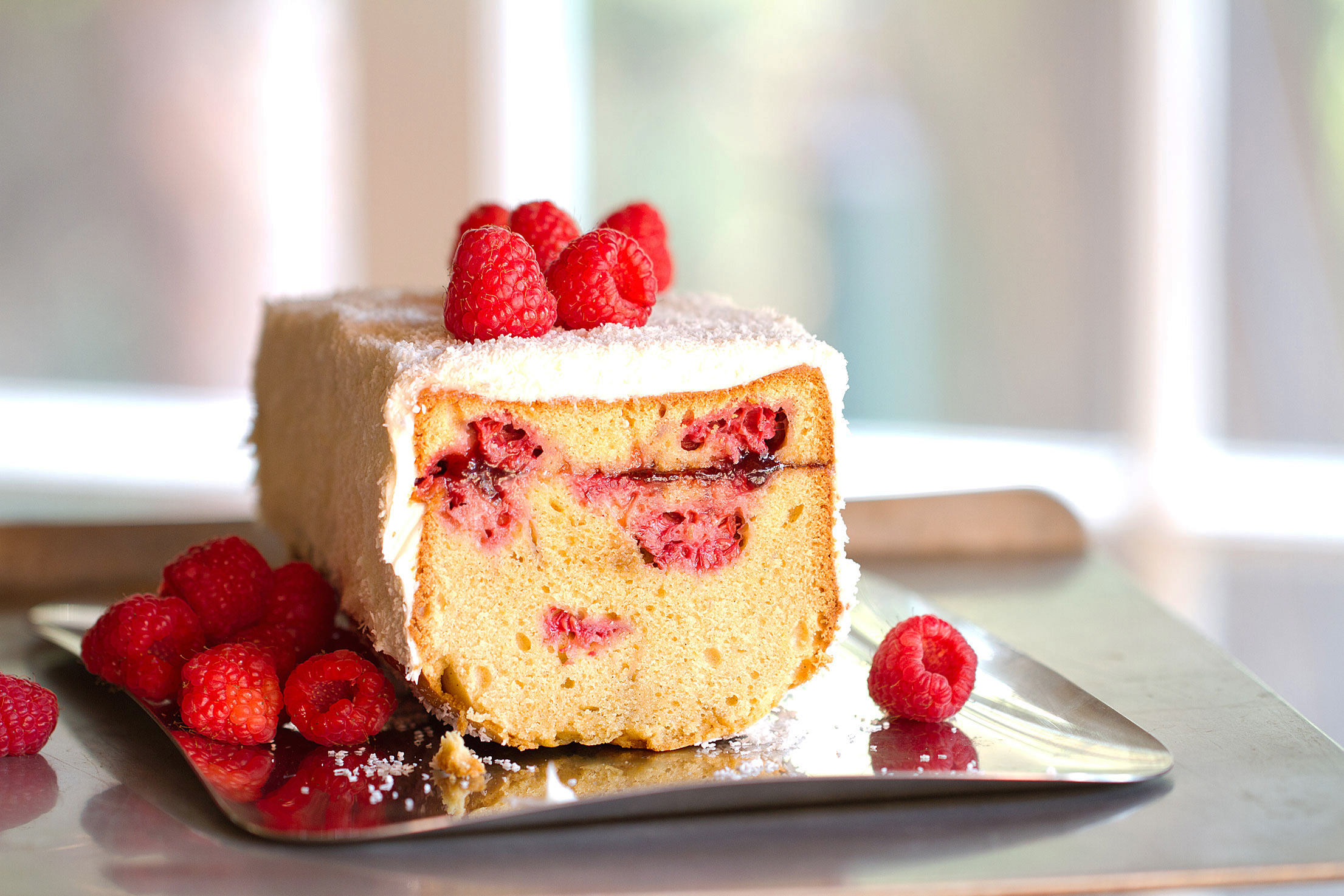 Brown Sugar Pound Cake with Raspberries