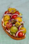 Open-Faced Avocado Sandwich with Lemon Ricotta, Tomatoes, and Pickled Peppers