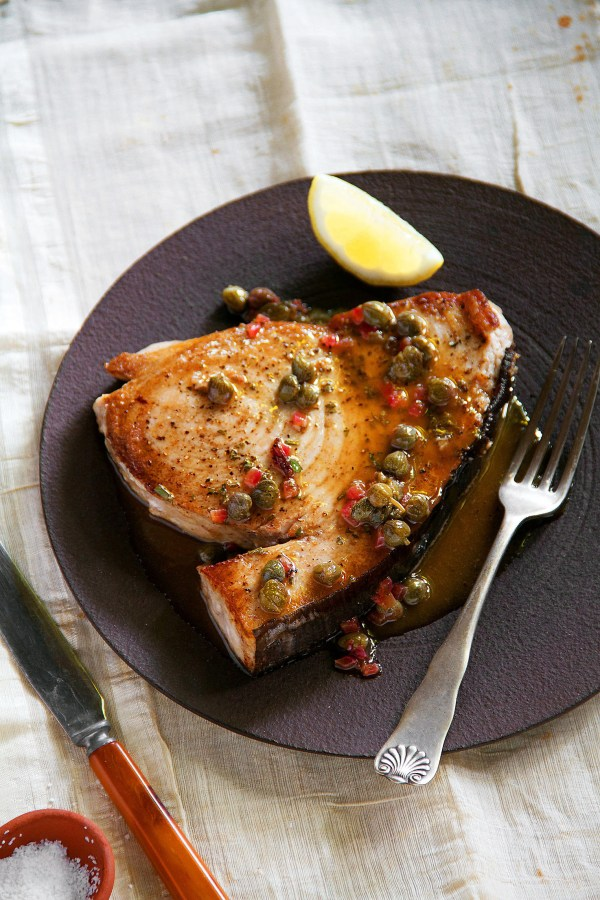 Seared Swordfish with Lemon Caper Pan Sauce