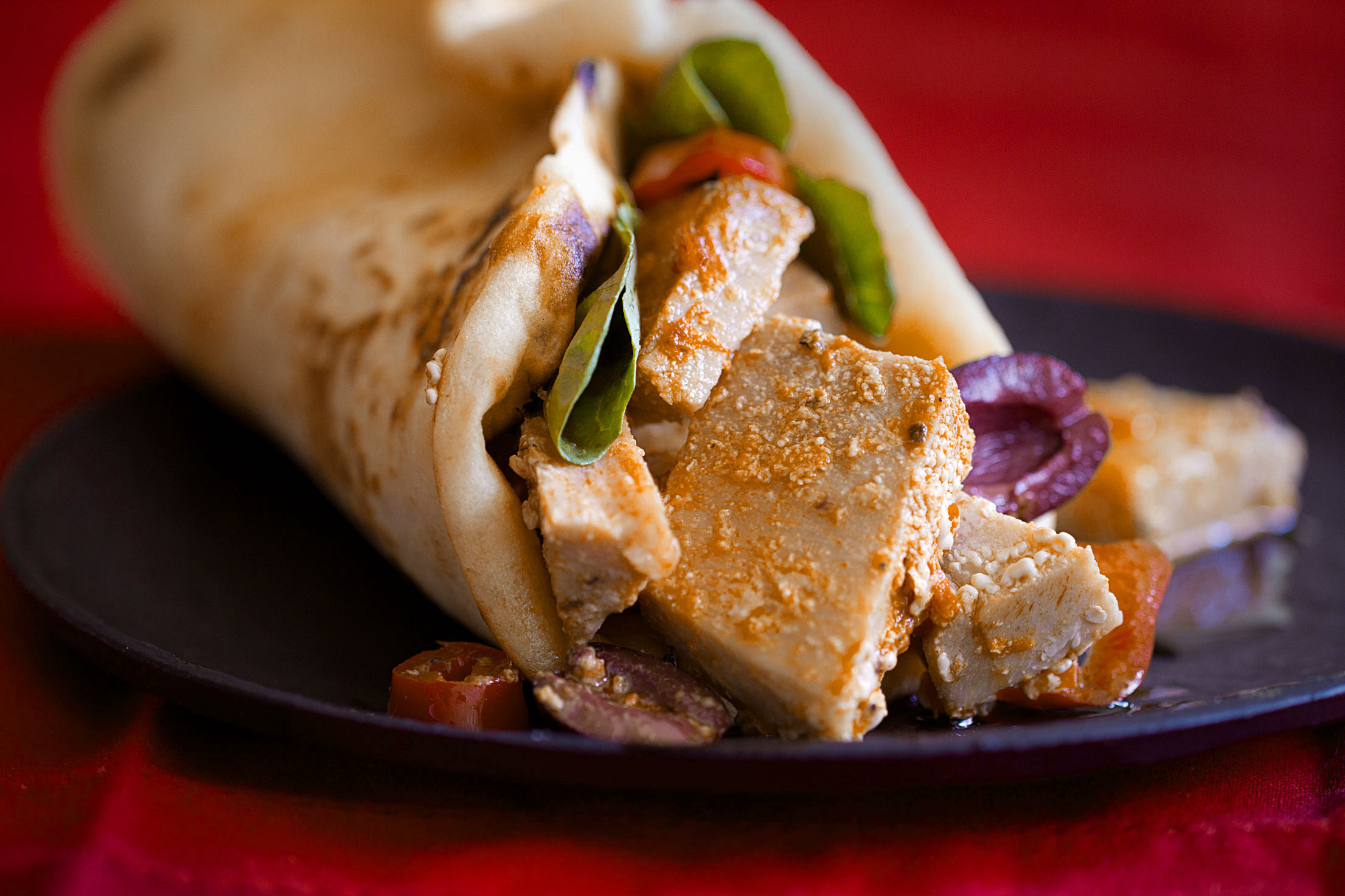 Tuna Naanwich with Harissa and Olives