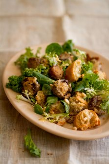 Baked Mushroom and Broken Bread Salad with Bitter Greens