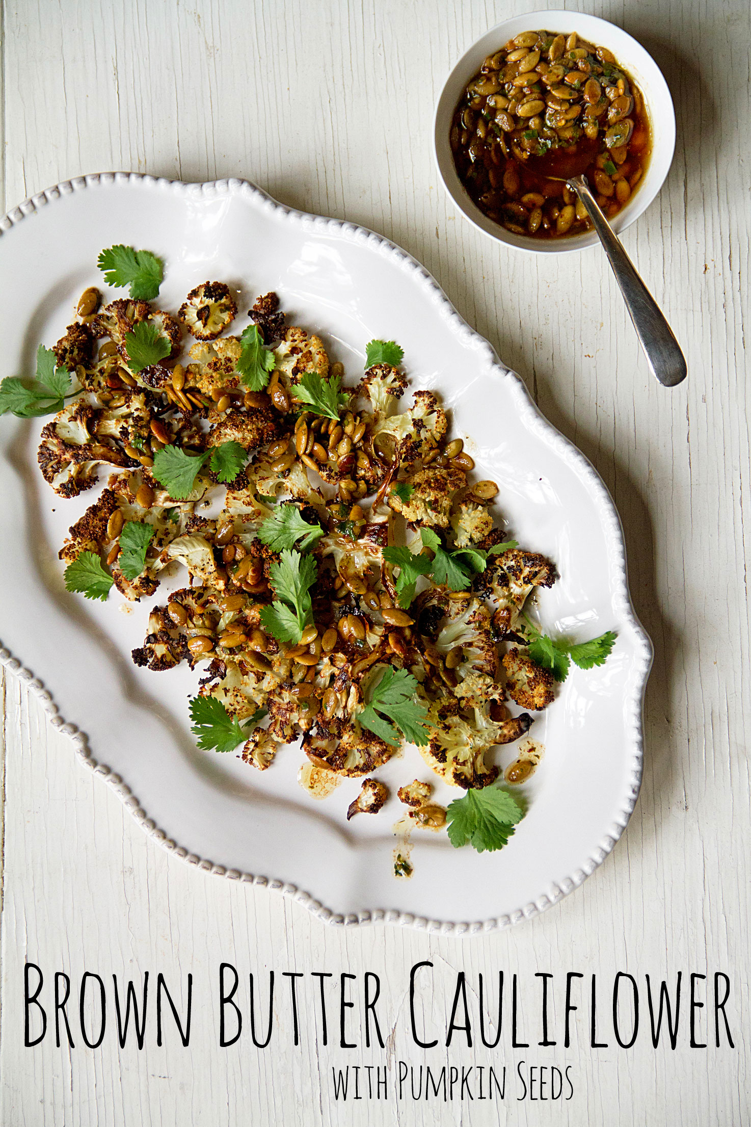 Brown Butter Cauliflower with Pumpkin Seeds