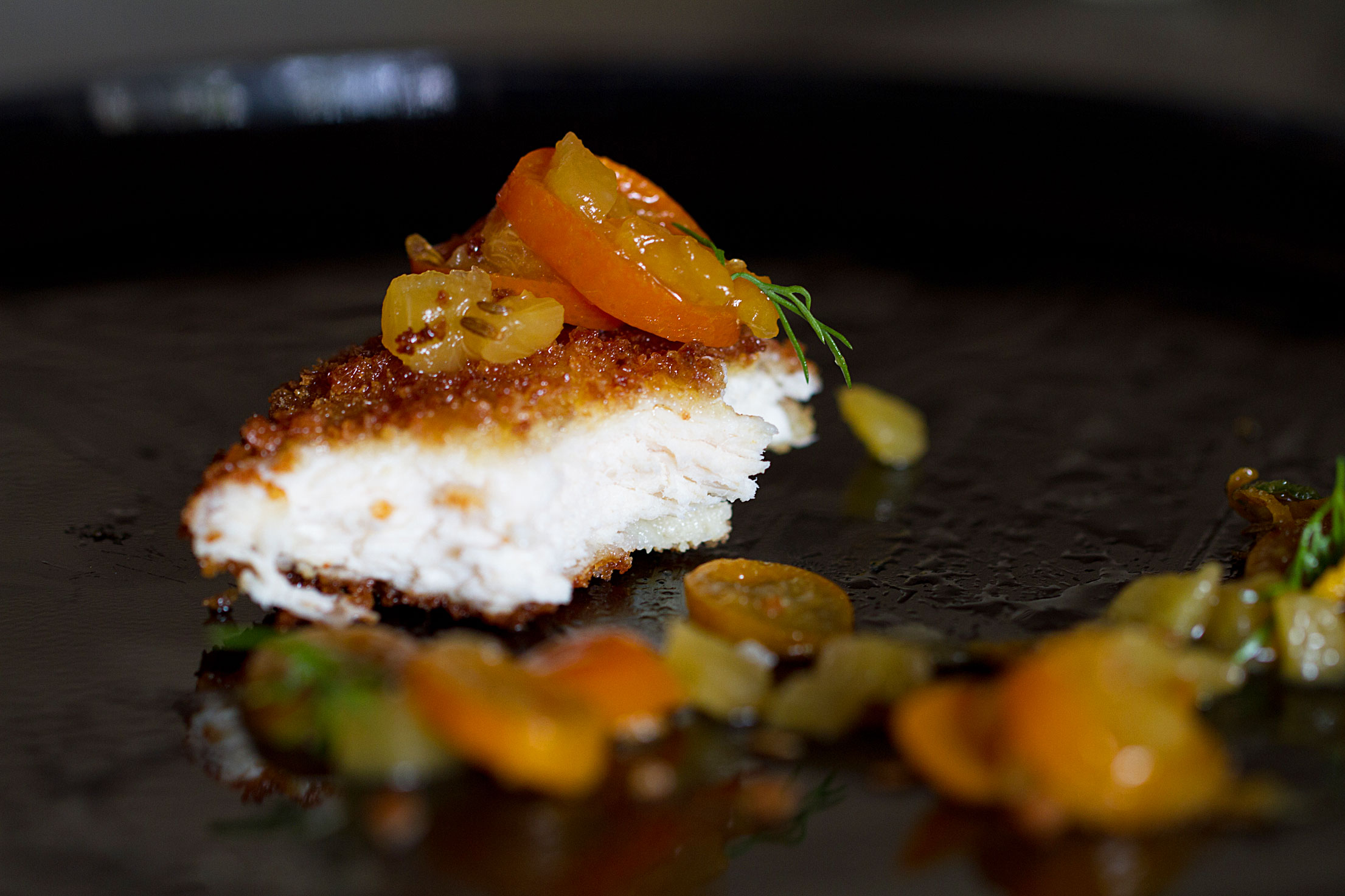Citrus-Cumin Chicken Breast Cutlets with Kumquat-Pineapple Chutney