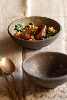 Roasted Sweet Italian Sausage with Kale and Barley Stew