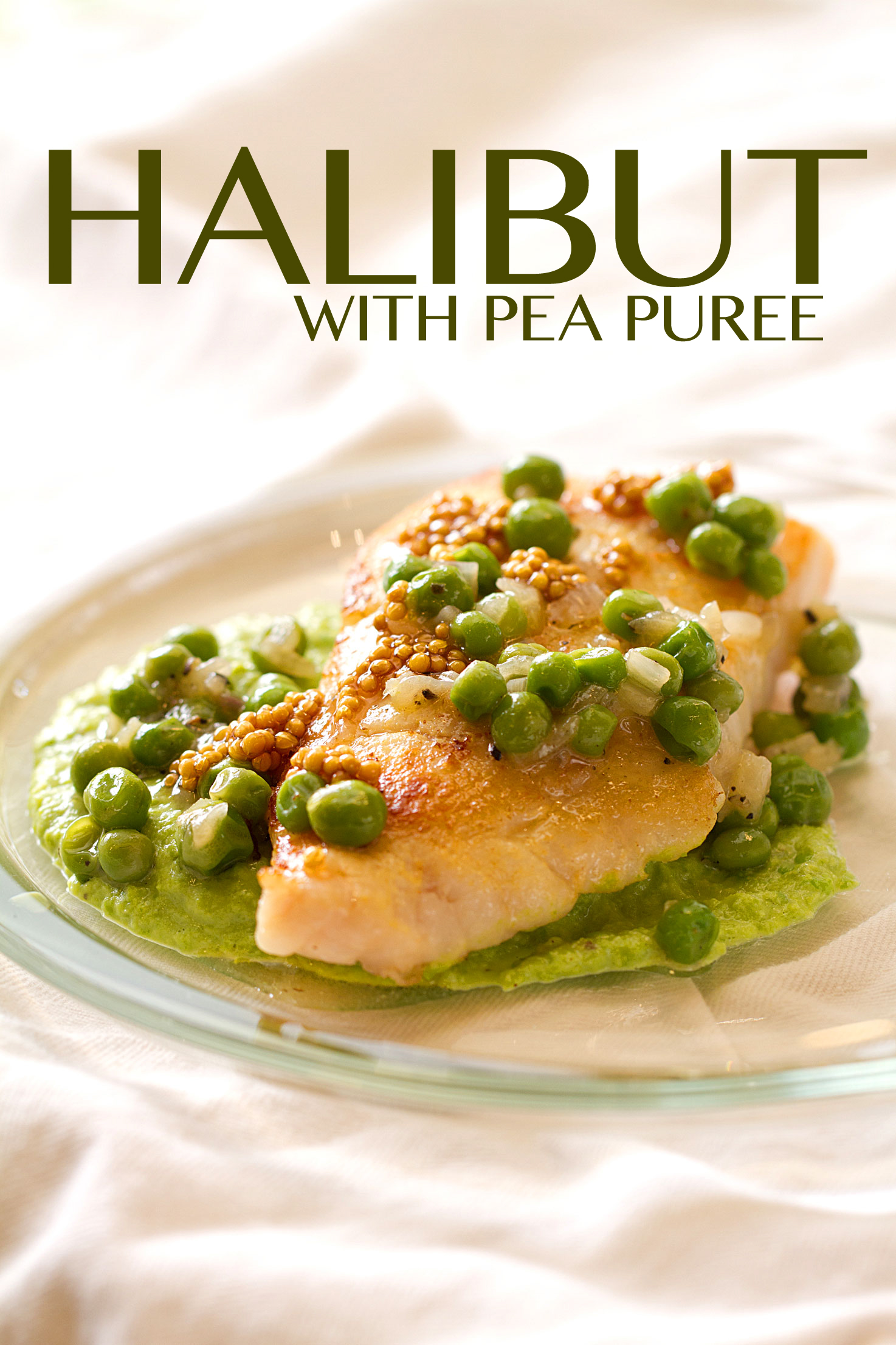 Halibut with pea puree and pickled mustard seeds