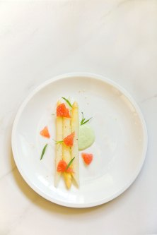 White Asparagus and Grapefruit Salad with Green Goddess Dressing