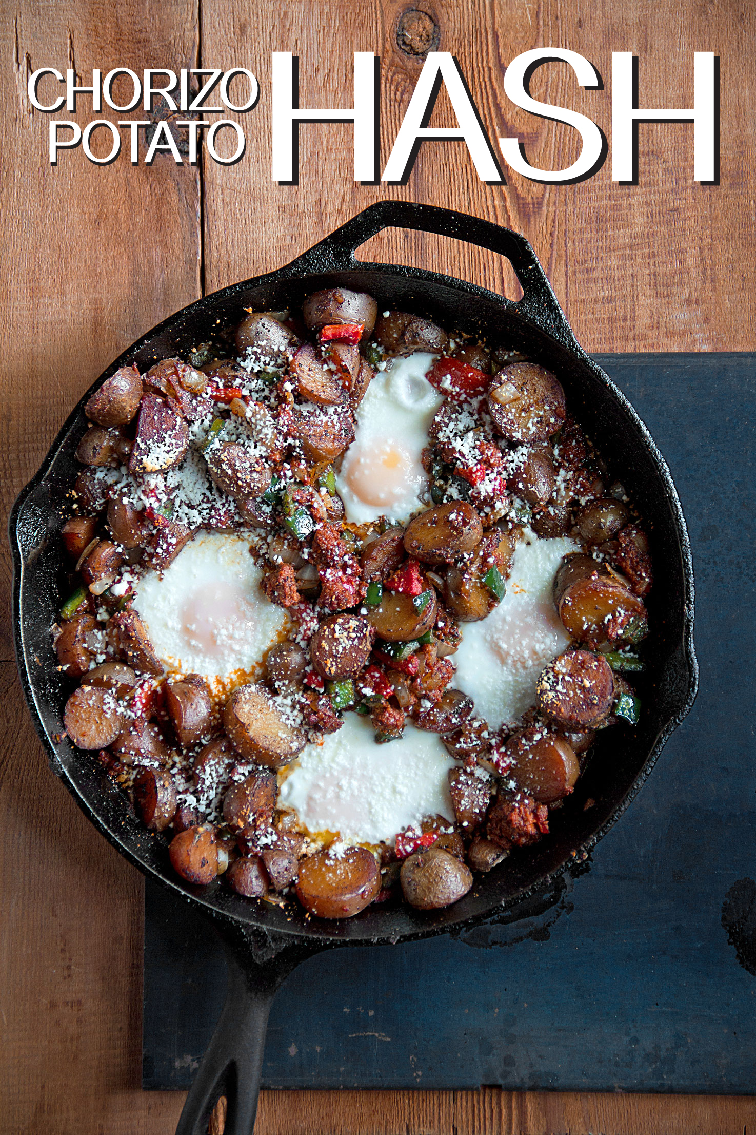 Fingerling Potato and Chorizo Hash with Baked Eggs