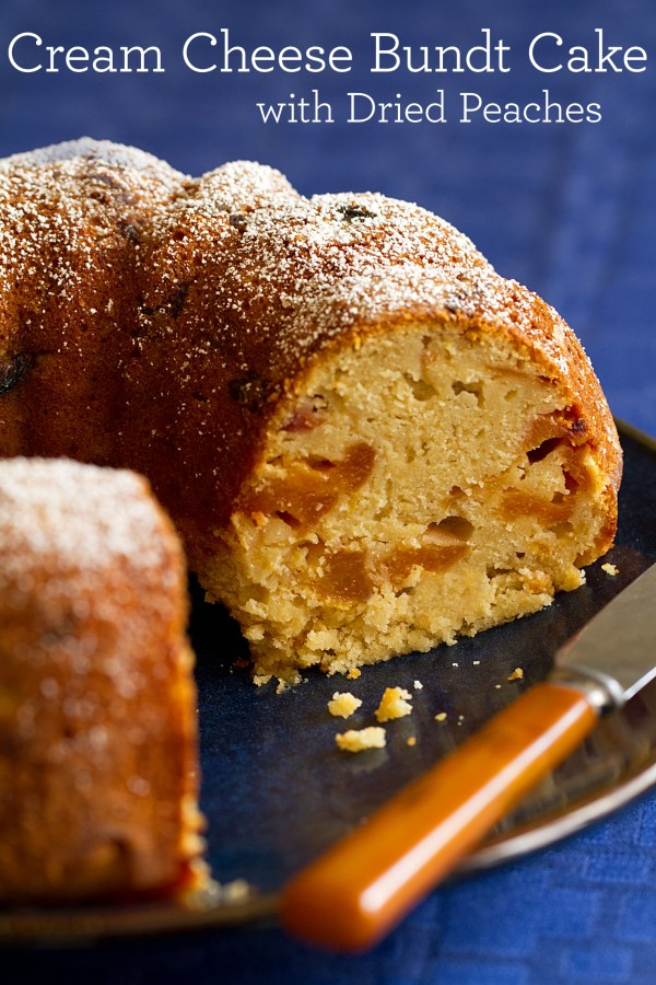 Cream Cheese Bundt Cake with Dried Peaches