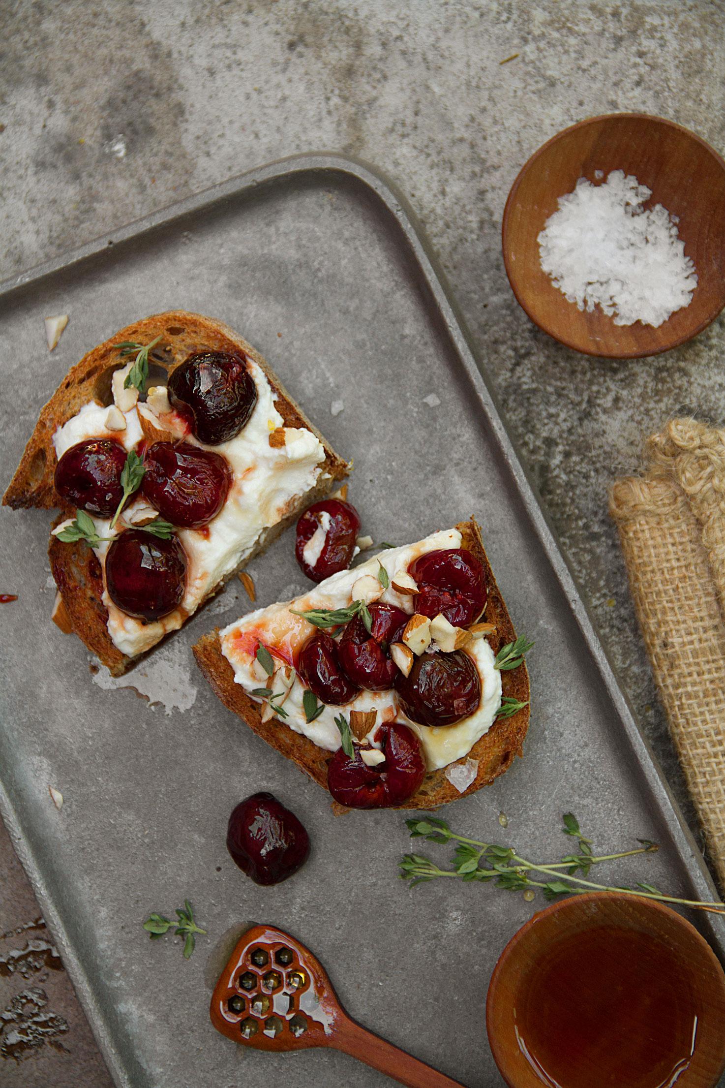 Honey-Roasted Cherry and Lemon Ricotta Toast