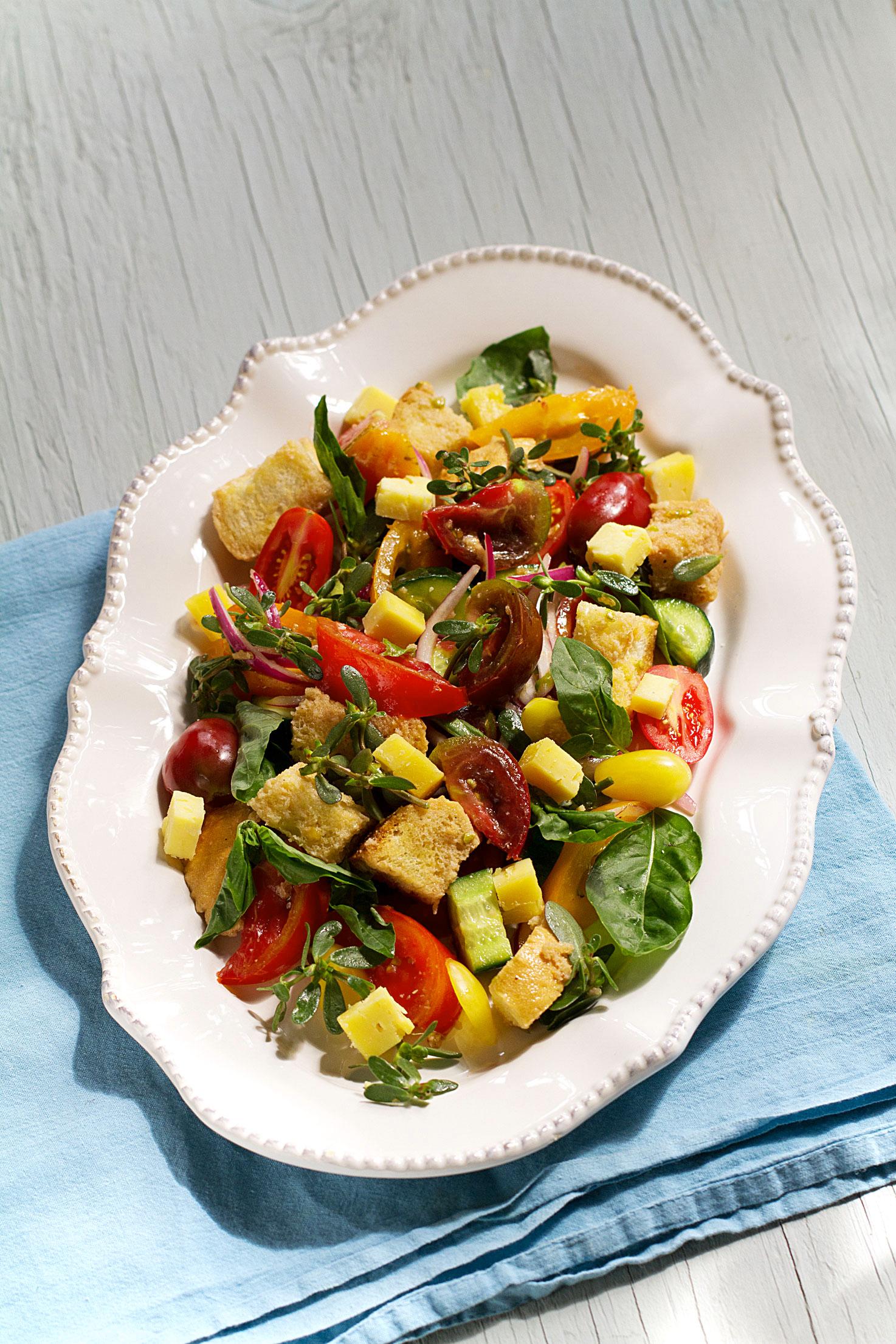 Purslane Panzanella Salad