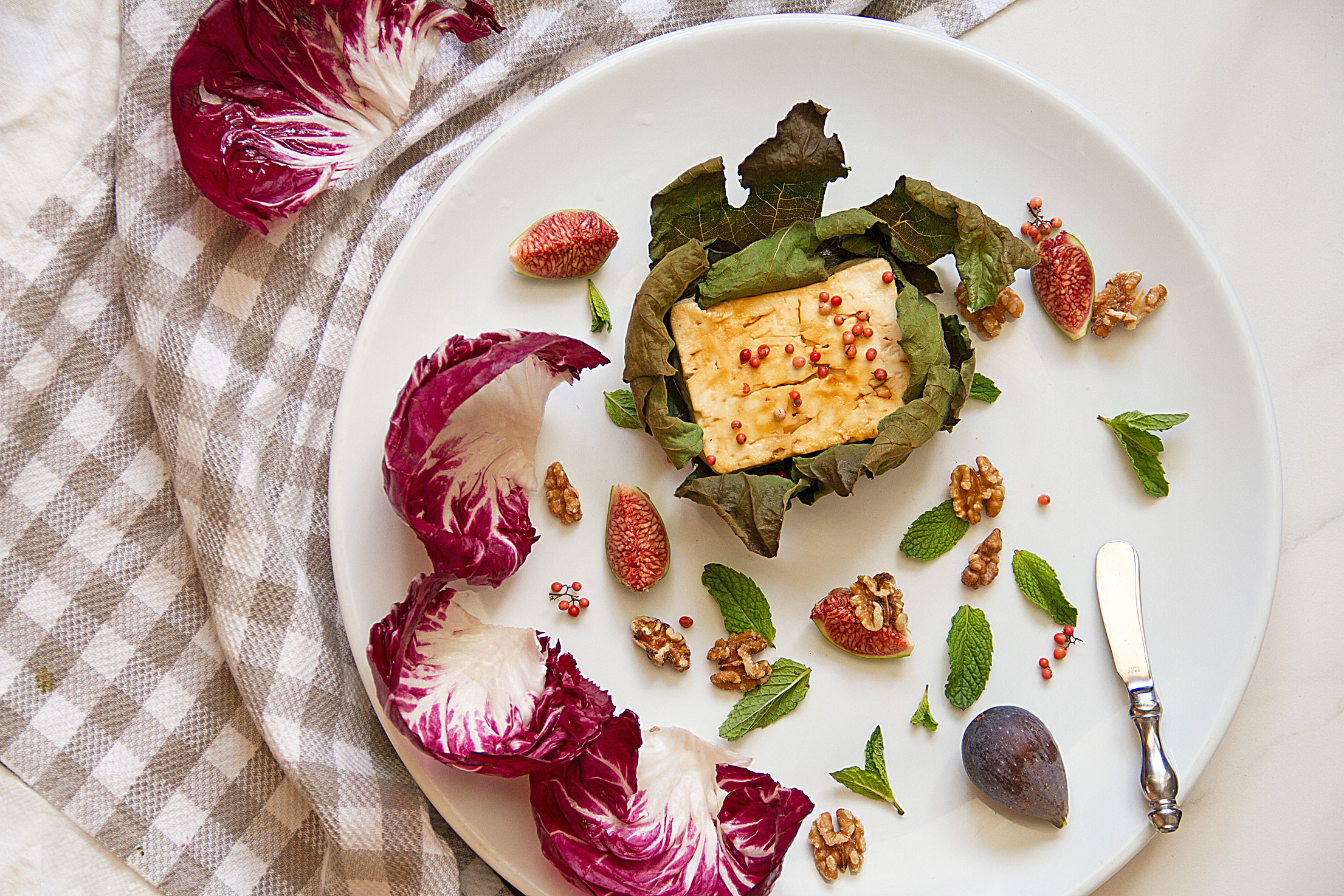 Sticky Baked Feta with Figs Wrapped In Radicchio Cups