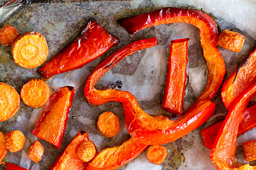 roast carrots and red bell peppers