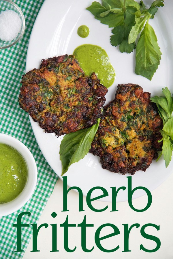 Herb Fritters with green tahini