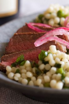 Anchovy-Marinated Lamb Loin with Minted Couscous